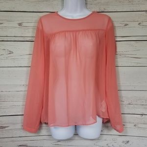 ZARA woman sheer peach long sleeve blouse